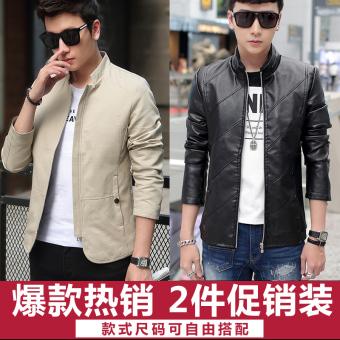 Jual Korea Fashion Style Baru Bagian Tipis Kulit Slim Jaket Kulit Pria Cahaya Warna Kopi Di