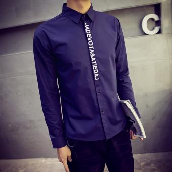 Korea Fashion Style Slim Remaja anak laki-laki shirt cetak lengan panjang baju kemeja (