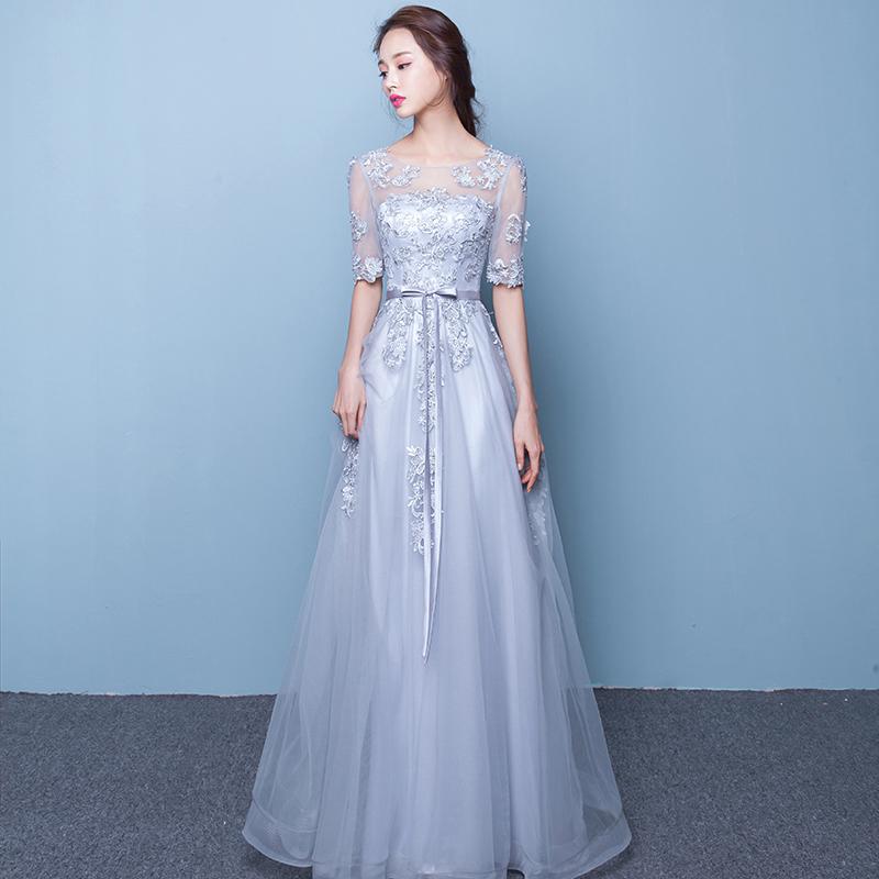 Korea Fashion Style Slim Terlihat Langsing Perjamuan Gaun Pernikahan Gaun (  Abu-abu Model Panjang 7f4cd33b91
