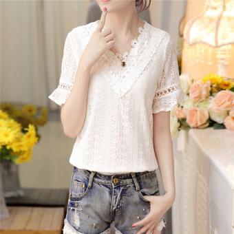 Korea Fashion Style Slim tipis lengan pendek renda kemeja kecil (Putih) ( Putih)