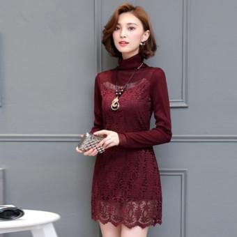 Belanja murah Korea Fashion Style Tambah Beludru Perempuan Lebih Tebal Kerah Tinggi Bottoming .