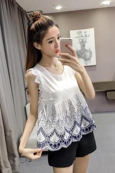Korea Fashion Style Tanpa Lengan Temperamen Adalah Blus Tipis Kemeja Renda (Putih kecil bunga)
