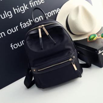 Korea Fashion Style wanita baru perjalanan tas ransel nilon tas bahu (Hitam)