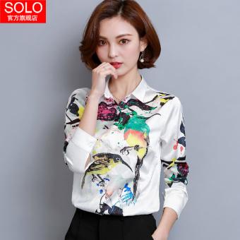 Korea perempuan lengan panjang musim gugur style kemeja dicetak kemeja ( Putih)