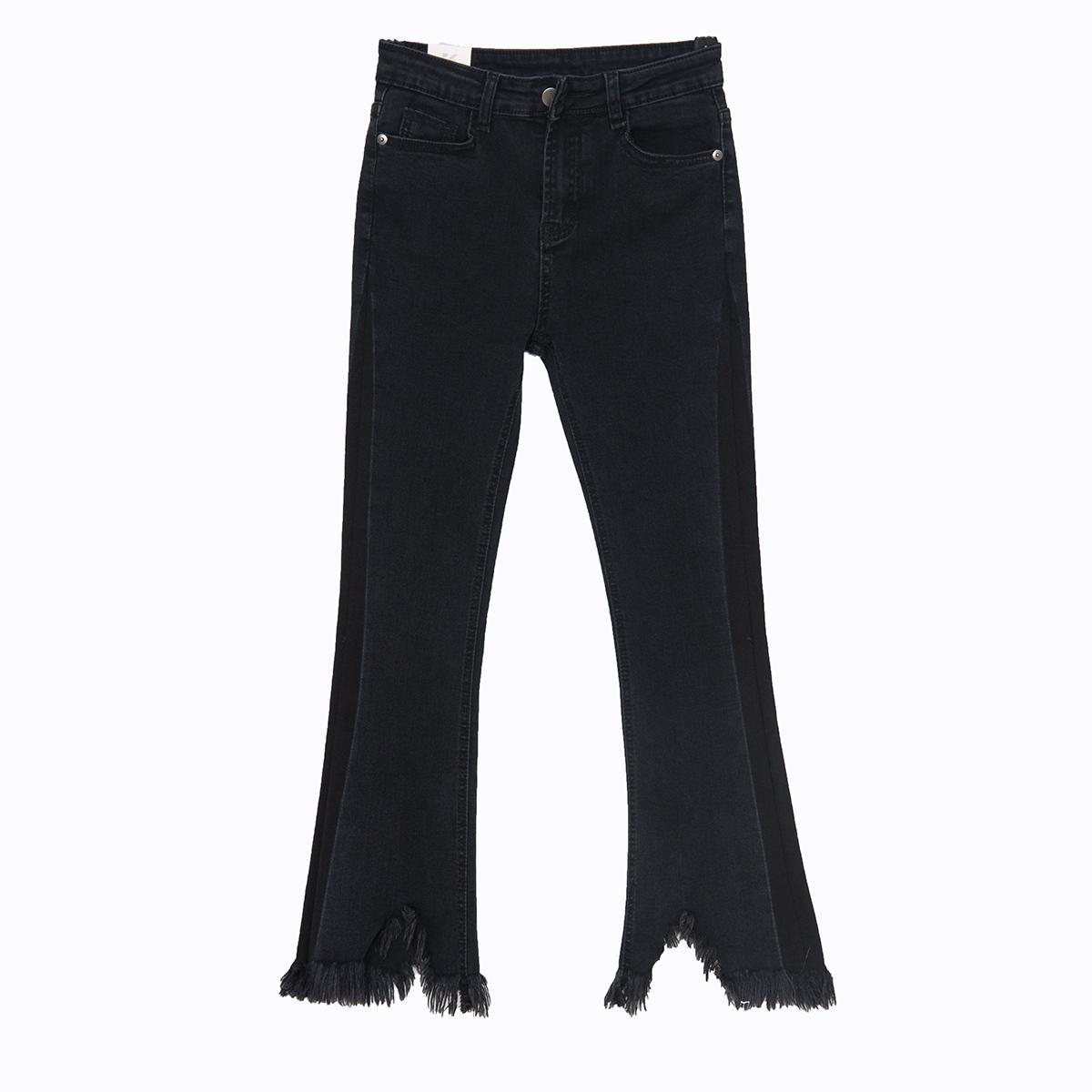 ... Flash Sale Korea perempuan warna mantra yang tidak teratur tanduk celana panjang pinggang tinggi celana jeans