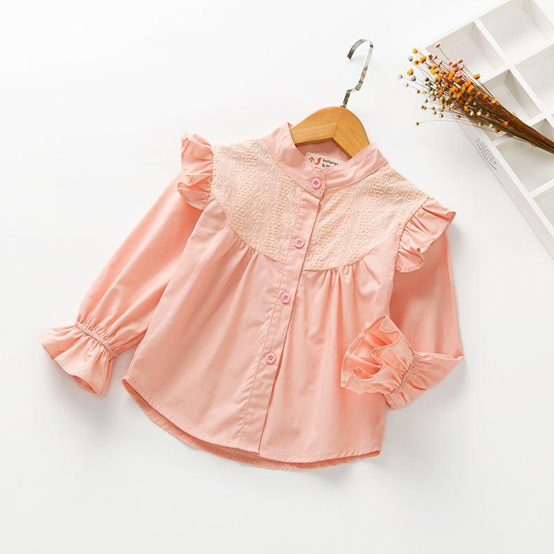 Korean-style autumn new girls horn sleeve shirt (Merah muda)