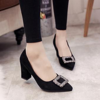 Korean-style autumn New style pointed suede high-heeled shoes (Hitam)