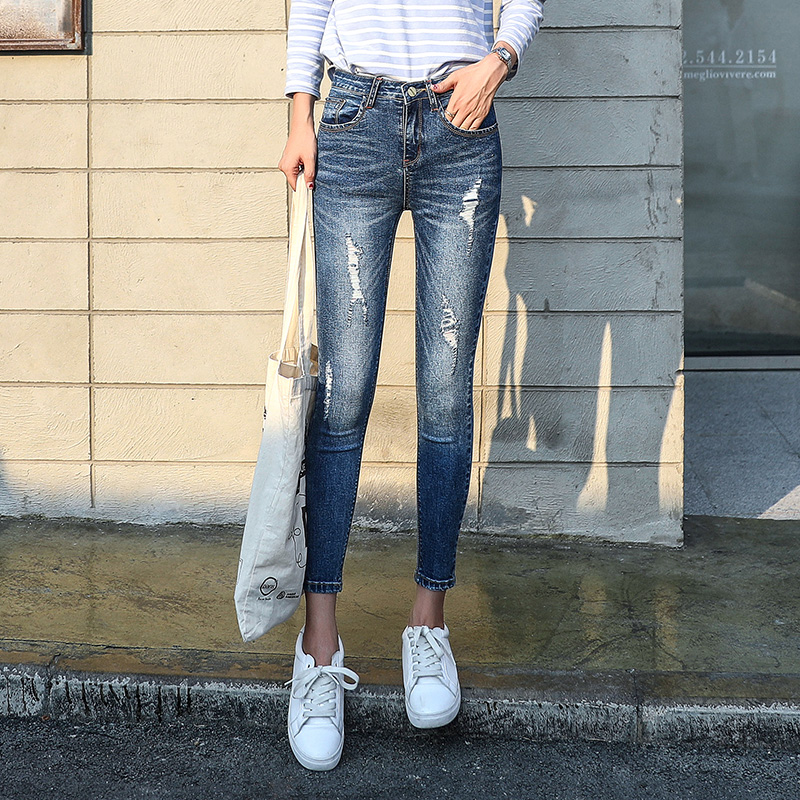 Flash Sale Korean-style female autumn New style ankle-length pants with holes denim