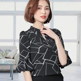 Korean-style female long-sleeved short sleeved chiffon shirt Printed shirt (Hitam)