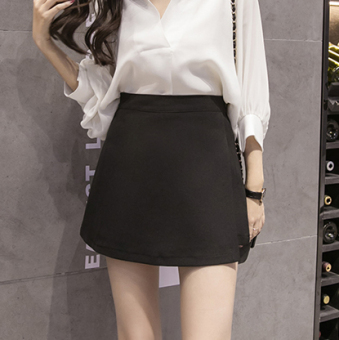 Korean-style Female Summer New style skirt culottes (Hitam)