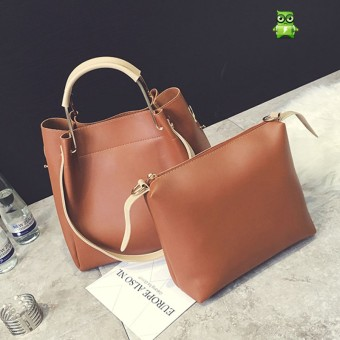 Korean-style New Style Large Capacity shoulder bag handbag large bag (Coklat muda)