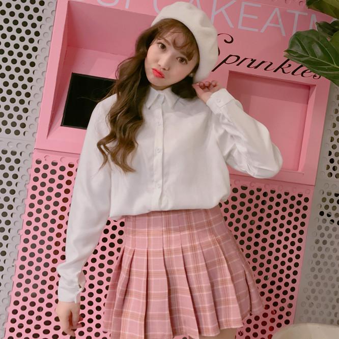 Korean-style New style student Top base shirt (Putih)