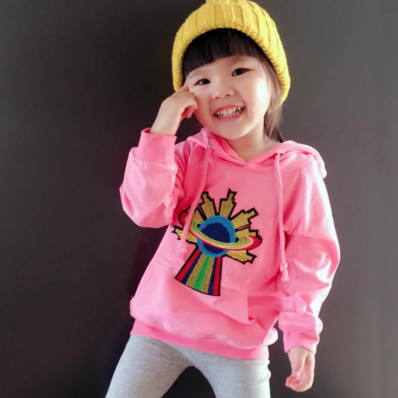 Korean-style pink color autumn New style hooded hoodie (Merah muda)