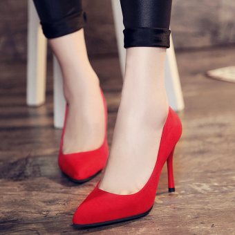 Korean-style thin heeled pointed suede crystal shoes women high heels (Merah (bagian