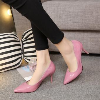 Online murah Kulit paten hitam perempuan non-slip sepatu kerja sepatu hak  tinggi (Merah 982610b1d2