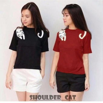 Labelledesign TSHIRT SHOULDER CAT - MAROON