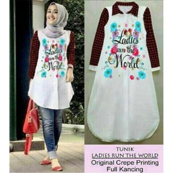 Hot Deals Ladies Fashion Kemeja Tunik Wanita Ladies lengan Panjang / Baju terusan / Long Hem / Dress Muslim / Hijab Tanpa Pasmina (diesla rldwo) NR - Putih ...