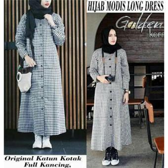 Ladies Fashion Kemeja Tunik Wanita lengan Panjang Baju terusan Long Hem Dress Muslim Hijab Tanpa Pasmina ...