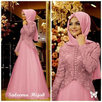 Ladies Fashion Set Muslim Amel / Gamis Syari Syar'i Fashion Maxi / Dress Syari Simple Elegant / Baju Muslim (lemasa) SS - Pink - korea