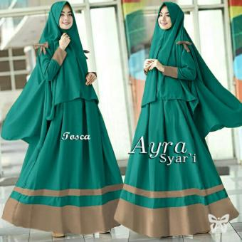 Ladies Fashion Set Muslim Meyri / Gamis Syari Syar'i Fashion Maxi / Dress Maxi / Gaun Muslimah / Baju Muslim 2 in 1 (raay arisy) SS - Tosca - korea