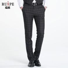 Laki-laki baru versi Korea kisi rekreasi Langsing celana panjang abu-abu - intl
