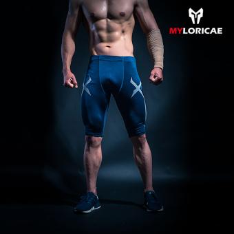 Harga Penawaran Laki-laki berjalan Legging celana kebugaran celana pendek ( Biru tua) Harga