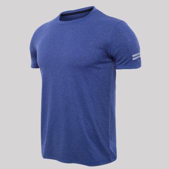 Jual Laki-laki cepat kering bernapas cepat kering lengan pendek t-shirt olahraga t-shirt (Karbon abu-abu benang-Reflektif m kata kisi) Baru