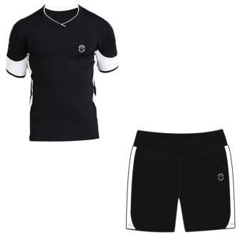 Laki-laki cepat kering pakaian pria lengan pendek berjalan pakaian (502 hitam lengan pendek + 902 hitam dan putih celana pendek)