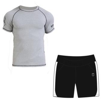 Laki-laki cepat kering pakaian pria lengan pendek berjalan pakaian (6905 heather gray lengan pendek + 902 hitam dan putih celana pendek)