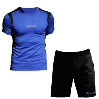 Laki-laki cepat kering pakaian pria lengan pendek berjalan pakaian (NKD1606 biru-hitam + 1702 hitam jas)
