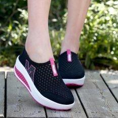 LALANG Baru Tinggi Meningkatkan Sepatu Kasual Wanita Ayunan Bernapas Wedges Sepatu Hitam