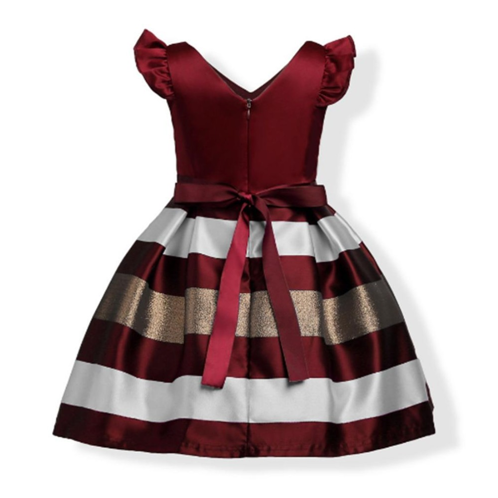 LALANG Girl Party Dress Sleeveless Striped Dress Cute Bow Fly Sleeve Elegant Children Dress - intl