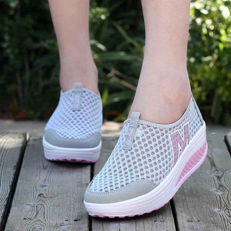 LALANG New Height Increasing Shoes Casual Women Swing Breathable Wedges Shoes Grey