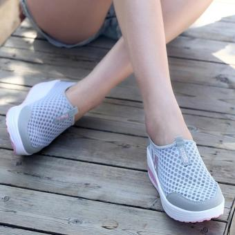 LALANG New Height Increasing Shoes Casual Women Swing BreathableWedges Shoes Grey - 3