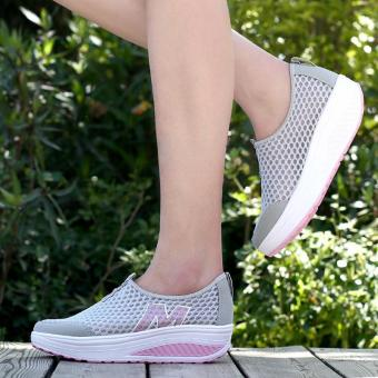 LALANG New Height Increasing Shoes Casual Women Swing BreathableWedges Shoes Grey - 5