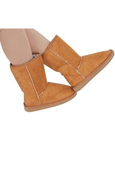 LALANG sepatu boots salju sol karet musim dingin hangat wanita cantik kasual flat - unta - 4