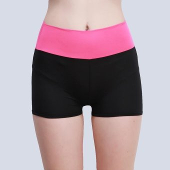 LALANG Women Shorts Casual Patchwork Elastic Yoga Fitness Sport Running Shorts (Hotpink) - Intl
