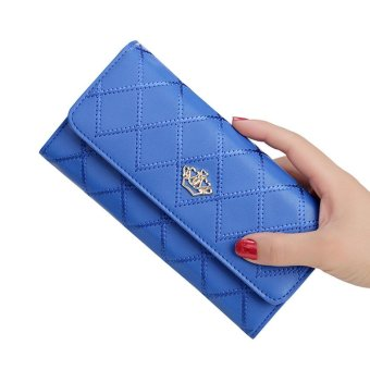 leegoal New Style Women Lady Leather Clutch Wallet Long PU Card Holder Purse Long Wallet ( Royal Blue )