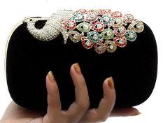 Leegoal wanita berlian imitasi merak beludru kopling tas pesta malam, hitam (International) - International