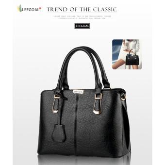 leegoal wanita butik tas bahu kulit PU atas pegangan tas jinjing hitam - ?