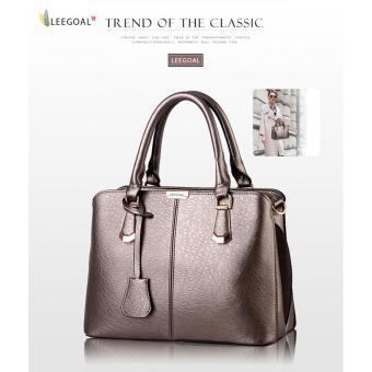 leegoal wanita butik tas bahu kulit PU atas pegangan tas jinjing perunggu - ?