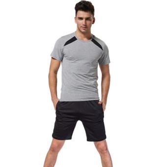Lefan kebugaran Room lengan pendek baru legging pakaian yoga kebugaran pakaian (4490 abu-abu terang pakaian + celana pendek) (4490 abu-abu terang pakaian + celana pendek)