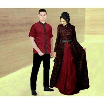 Jual Legionshop Busana Muslim Couple Zahira Maroon Online Terbaik