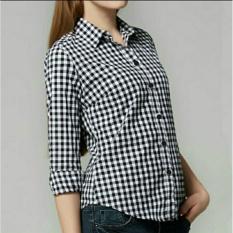 Kedai_baju Blouse Murah / Atasan Wanita / Hem Kotak / Kemeja Kotak - HitamIDR56000. Rp