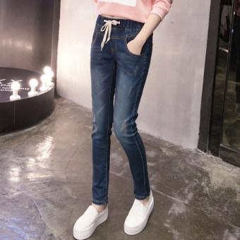 Liar denim siswa SMA celana panjang harem celana (Biru)