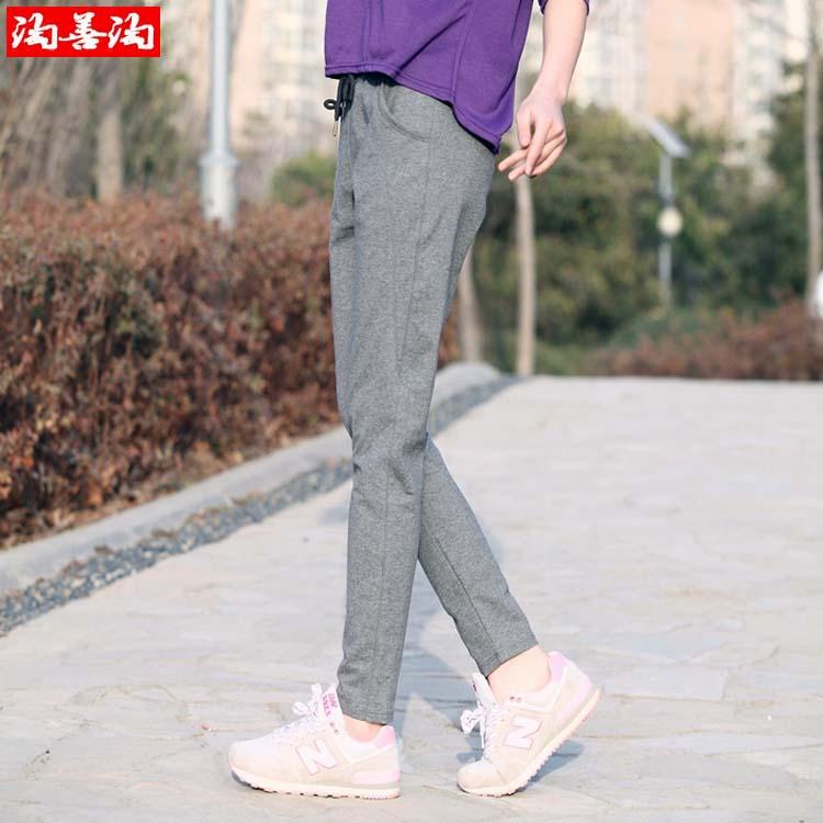 Liar kaki siswa Musim Semi dan Gugur celana kasual bagian tipis celana olahraga (Abu-