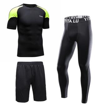 Jual Lima celana kasual lengan pendek celana pendek Pria Kebugaran pakaian legging pakaian (8216 hitam dan hijau tiga potong) Online