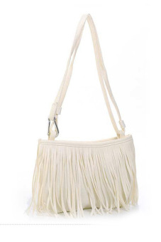 Linemart Women's Girl Tassel Cross-body Handbag Shoulder Bag(White)