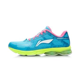 LINING ARHK036 cincin busur sepatu lari sepatu sepatu olahraga (Langit cerah biru/fluoresensi bubuk buah/hijau)