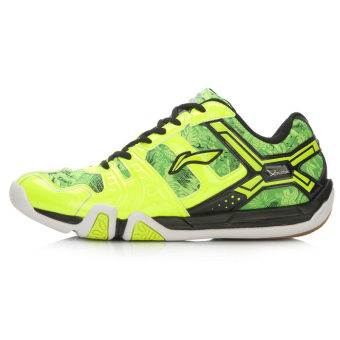 LINING aytl067 baru pelatihan sepatu sepatu bulu tangkis (Lampu neon hijau/hitam)